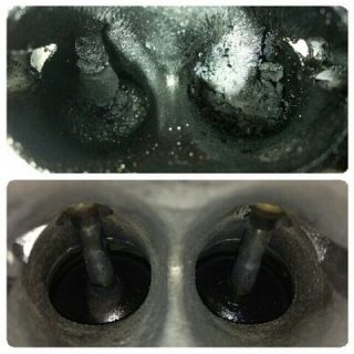 view of dirty and clean valve